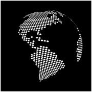 globe earth world map - abstract dotted vector background.  Black and white s - stock illustration