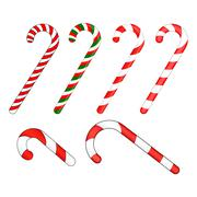 Candy cane striped in Christmas colours. Vector illustration isolated on a wh Stock Illustration