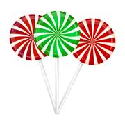 Christmas striped Lollipop set. Spiral sweet candy with stripes. Vector illus - stock illustration