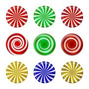 Christmas striped candy set. Spiral sweet mint goody with stripes. Vector ill - stock illustration
