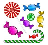 Christmas candy set. Colorful wrapped sweet, lollipop, cane. Vector illustrat Stock Illustration