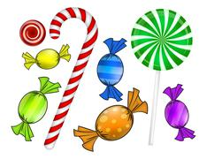 Christmas candy set. Colorful wrapped sweet, lollipop, cane. Vector illustrat - stock illustration