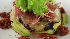 Stock Video Footage of Salad with eggplant and avocado, closeup