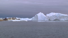 Icebergs and water at Disko Bay outside Illusat Greenland Stock Footage
