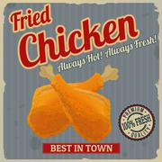 Stock Illustration of Fried chicken retro poster