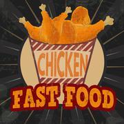 Fried chicken legs on striped box retro poster Stock Illustration