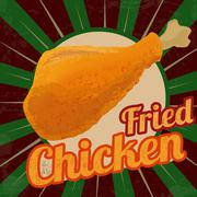 Fried chicken retro poster - stock illustration