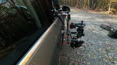 Rig with hot head camera mounted on the outside of the car Stock Footage