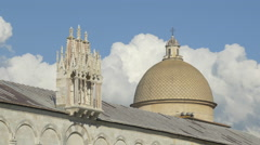 The dome and the beautiful roof decoration of Camposanto Monumentale in Pisa - stock footage