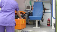 Emergency medical ambulance service paramedic at the site of illness or injury Stock Footage