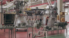 Space rocket engine factory hall Stock Footage