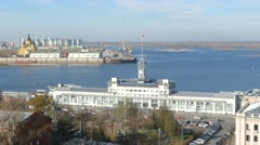 Russia. Novgorod - 2015: 4K V The building of the Volga Shipping Company Stock Footage