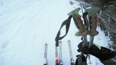 Ascent to rope tow Stock Footage