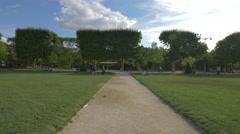 Alleys in the beautiful park of Champ de Mars, Paris Stock Footage