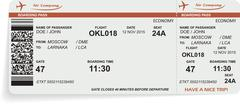 Variant of airline boarding pass ticket in orange color - stock illustration