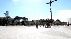 Fatima Sanctuary Portugal. Camera pans showing the place. Stock Footage