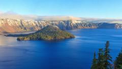Crater Lake National Park at sunrise, Oregon, USA -4K Stock Footage