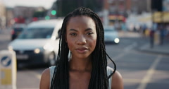 Slow Motion Portrait of happy beautiful African American woman smiling Arkistovideo