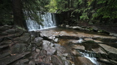 Wild Waterfall and Lomnica River Stock Footage