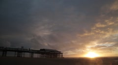 Beach at Sunset with Orange/Red Sky (Blackpool, UK) Stock Footage