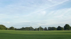 Green Fields Football Rugby Pitches Blue Sky Symmetry - stock footage