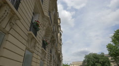 View of a building with a beautiful architectural design in Paris Stock Footage