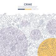 Stock Illustration of crime Doodle Website Template Design