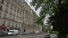 Street with beautiful architectural design in Paris Stock Footage