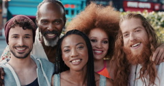 Slow Motion Portrait of multi ethnic group of people smiling - stock footage