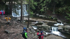 Waterfall School Children Trip Stock Footage