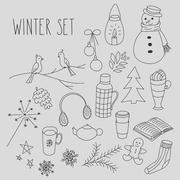 Winter doodles hand drawn set - stock illustration