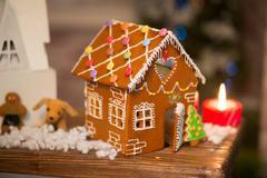 gingerbread house Christmas interior - stock photo