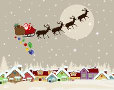 Santa Claus on sledge delivering Christmas gifts Stock Illustration