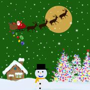 Santa Claus on sledge delivering Christmas gifts - stock illustration