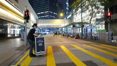 Walking on the empty street of HongKong, after protest demonstration event, POV Stock Footage