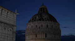 The dome of Baptistery of St John seen at night in Pisa - stock footage