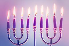 A still life composed of elements of the Jewish Chanukah Stock Photos