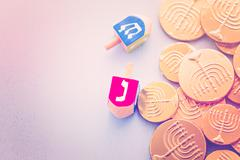 A still life composed of elements of the Jewish Chanukah - stock photo