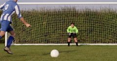 Scoring a goal during penalty kick. Shot on RED Epic. Stock Footage
