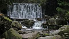 Wild Waterfall in Karkonosze Mountains Stock Footage