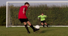 Scoring a goal during penalty kick. Shot on RED Epic. - stock footage