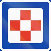 Norwegian service road sign - First aid - stock illustration