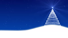 christmas tree and snow, blue abstract background, loop - stock footage