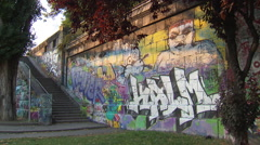 Grafitti on wall in Vienna - stock footage