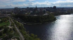 4k aerial downtown ottawa canada parliament building scenic - stock footage
