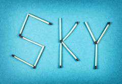 Word SKY made of matchsticks Stock Photos