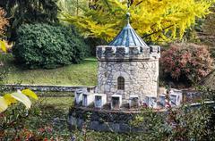 Turret in Bojnice, autumn park, seasonal colorful park scene - stock photo