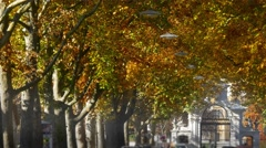 Close-up of street alley in fall to Eggenberg Palace, Graz, Austria Stock Footage