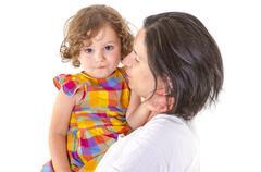 Mother teaching discipline her little daughter Stock Photos