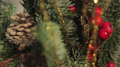 Details of floral new year and christmas tree - stock footage